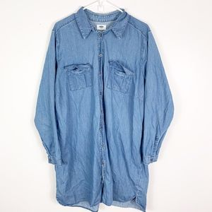 old navy button down chambray shirt dress